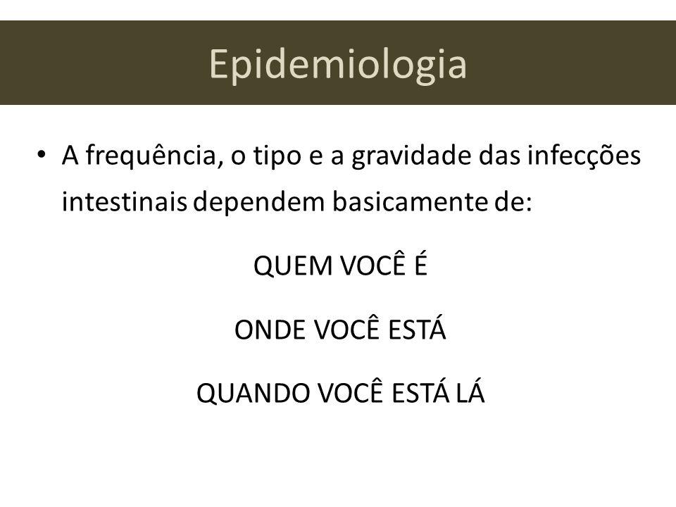 Epidemiologia A frequência, o tipo e a gravidade das infecções intestinais dependem basicamente de: QUEM VOCÊ É ONDE VOCÊ ESTÁ QUANDO VOCÊ ESTÁ LÁ