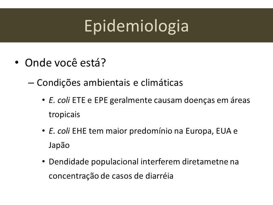 Epidemiologia Onde você está? – Condições ambientais e climáticas E. coli ETE e EPE geralmente causam doenças em áreas tropicais E. coli EHE tem maior