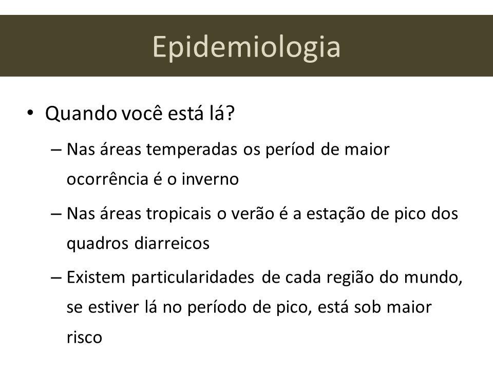 Epidemiologia Quando você está lá? – Nas áreas temperadas os períod de maior ocorrência é o inverno – Nas áreas tropicais o verão é a estação de pico