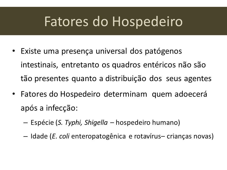 Fatores do Hospedeiro Existe uma presença universal dos patógenos intestinais, entretanto os quadros entéricos não são tão presentes quanto a distribu
