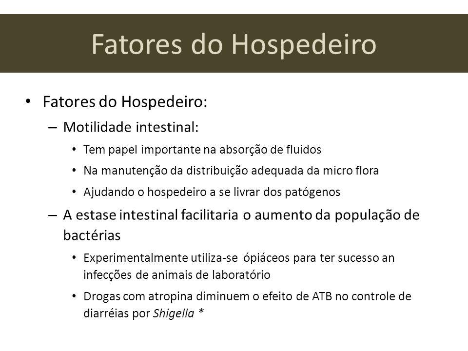 Fatores do Hospedeiro Fatores do Hospedeiro: – Motilidade intestinal: Tem papel importante na absorção de fluidos Na manutenção da distribuição adequa