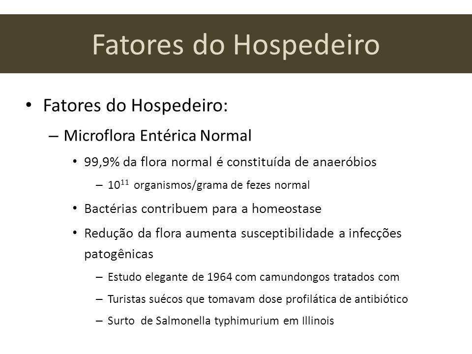 Fatores do Hospedeiro Fatores do Hospedeiro: – Microflora Entérica Normal 99,9% da flora normal é constituída de anaeróbios – 10 11 organismos/grama d