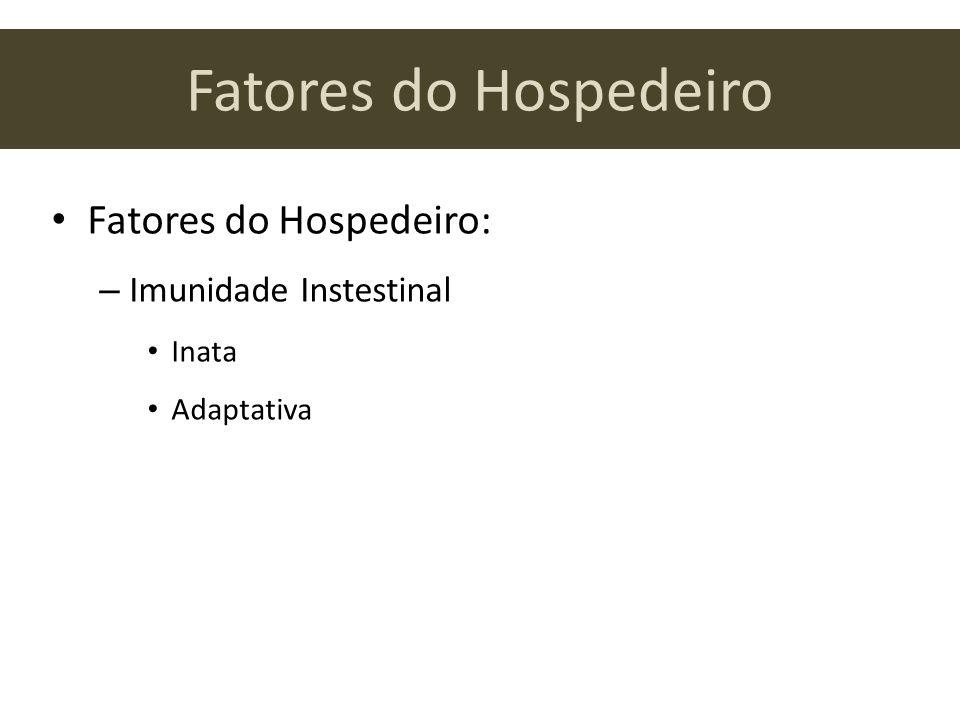 Fatores do Hospedeiro Fatores do Hospedeiro: – Imunidade Instestinal Inata Adaptativa