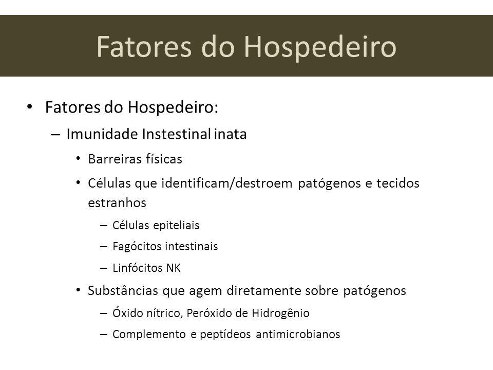 Fatores do Hospedeiro Fatores do Hospedeiro: – Imunidade Instestinal inata Barreiras físicas Células que identificam/destroem patógenos e tecidos estr