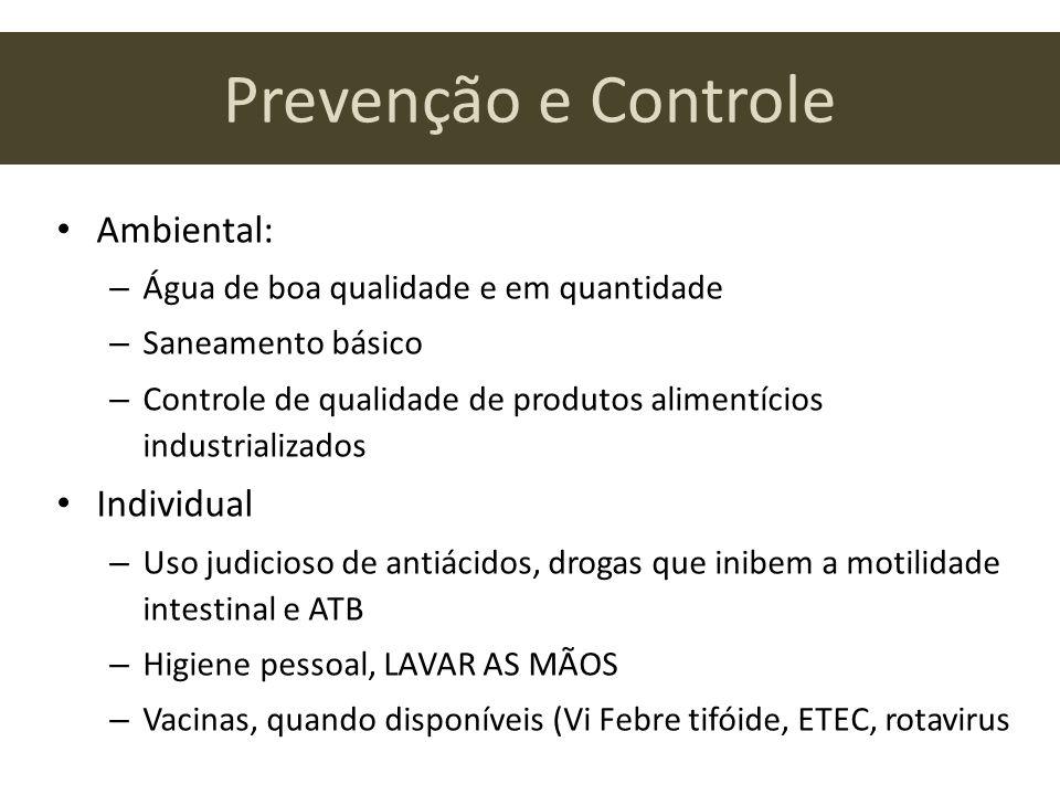 Prevenção e Controle Ambiental: – Água de boa qualidade e em quantidade – Saneamento básico – Controle de qualidade de produtos alimentícios industria
