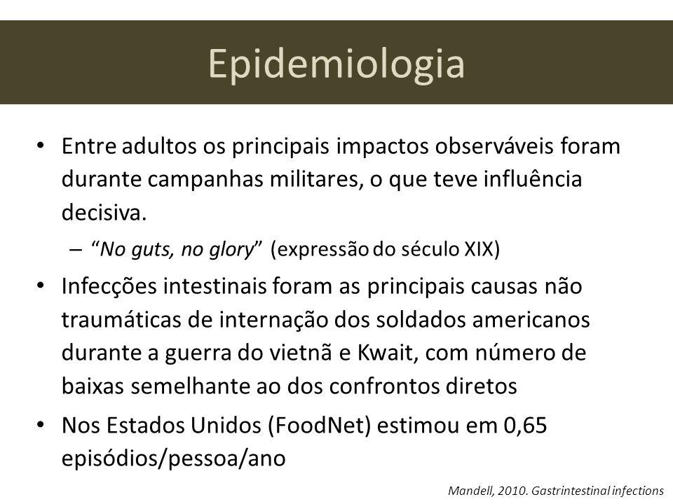 Epidemiologia Entre adultos os principais impactos observáveis foram durante campanhas militares, o que teve influência decisiva. –No guts, no glory (