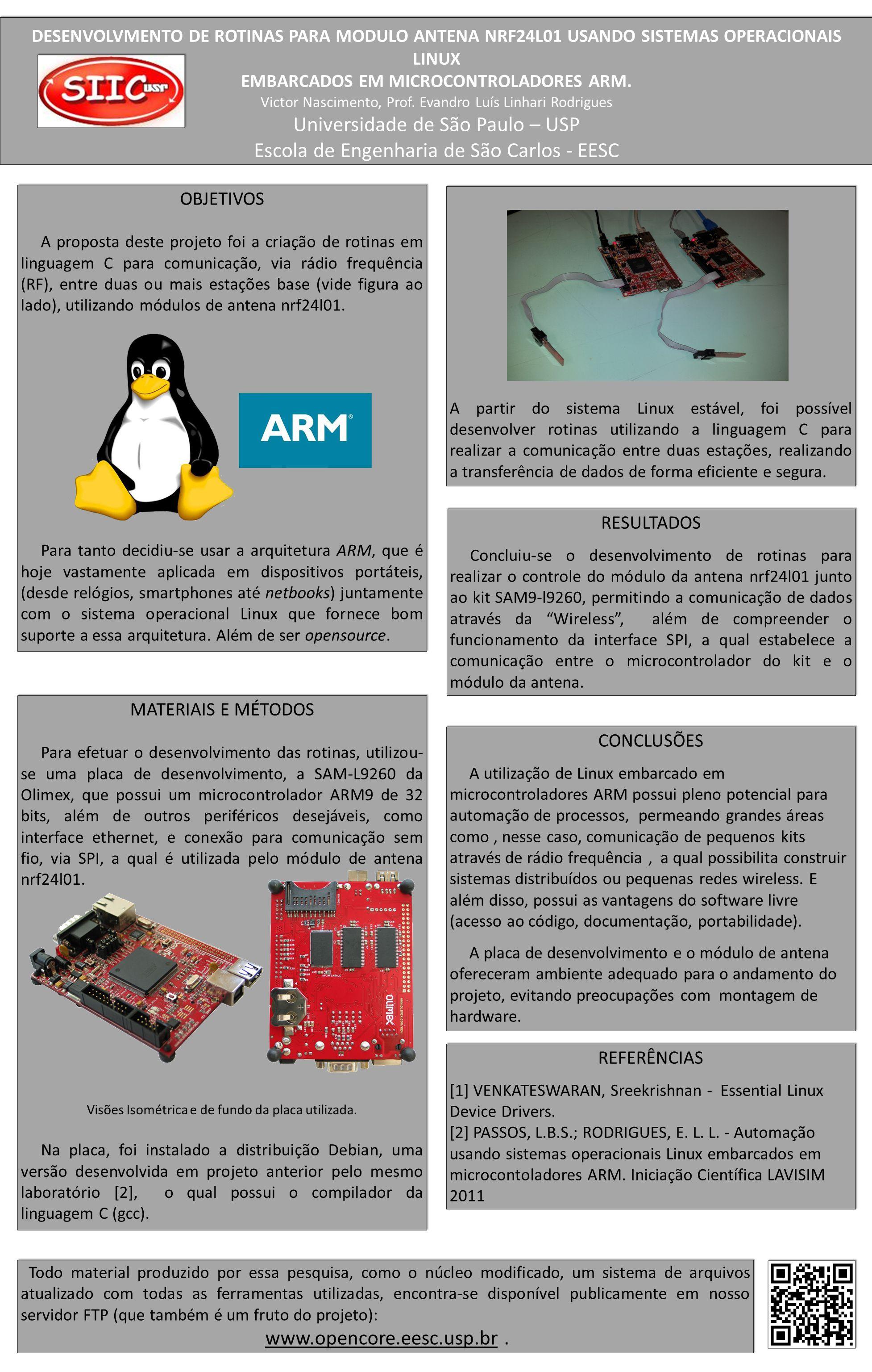DESENVOLVMENTO DE ROTINAS PARA MODULO ANTENA NRF24L01 USANDO SISTEMAS OPERACIONAIS LINUX EMBARCADOS EM MICROCONTROLADORES ARM.