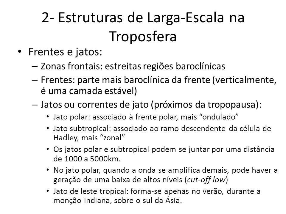 2- Estruturas de Larga-Escala na Troposfera Frentes e jatos: – Zonas frontais: estreitas regiões baroclínicas – Frentes: parte mais baroclínica da fre