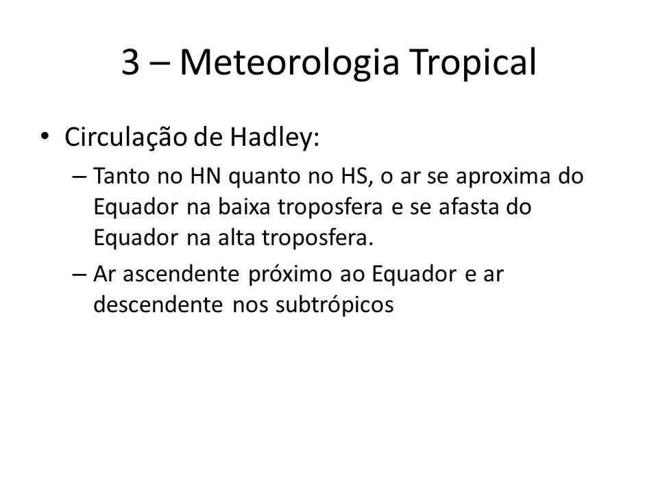 3 – Meteorologia Tropical Circulação de Hadley: – Tanto no HN quanto no HS, o ar se aproxima do Equador na baixa troposfera e se afasta do Equador na