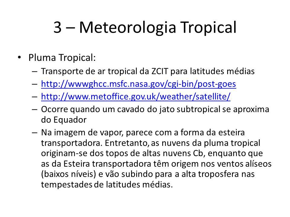 3 – Meteorologia Tropical Pluma Tropical: – Transporte de ar tropical da ZCIT para latitudes médias – http://wwwghcc.msfc.nasa.gov/cgi-bin/post-goes h