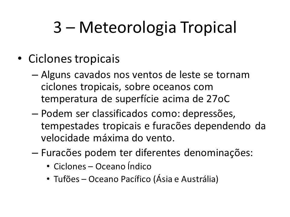 3 – Meteorologia Tropical Ciclones tropicais – Alguns cavados nos ventos de leste se tornam ciclones tropicais, sobre oceanos com temperatura de superfície acima de 27oC – Podem ser classificados como: depressões, tempestades tropicais e furacões dependendo da velocidade máxima do vento.