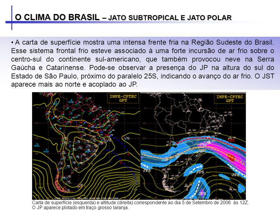 O CLIMA DO BRASIL – JATO SUBTROPICAL E JATO POLAR A carta de superfície mostra uma intensa frente fria na Região Sudeste do Brasil. Esse sistema front