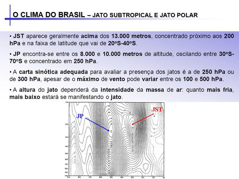 O CLIMA DO BRASIL – JATO SUBTROPICAL E JATO POLAR JST aparece geralmente acima dos 13.000 metros, concentrado próximo aos 200 hPa e na faixa de latitu