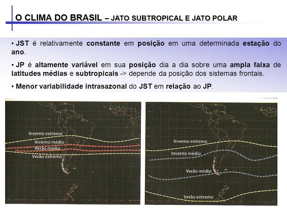 O CLIMA DO BRASIL – JATO SUBTROPICAL E JATO POLAR JST é relativamente constante em posição em uma determinada estação do ano. JP é altamente variável
