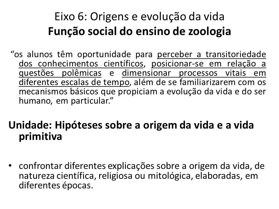 Eixo 6: Origens e evolução da vida Função social do ensino de zoologia os alunos têm oportunidade para perceber a transitoriedade dos conhecimentos ci