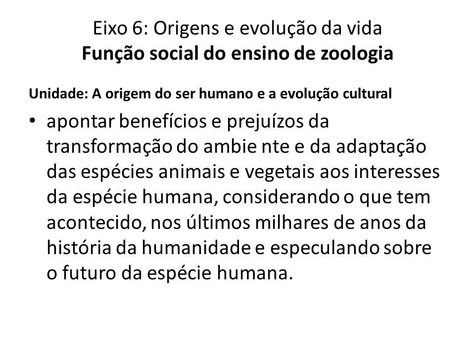 Unidade: A origem do ser humano e a evolução cultural apontar benefícios e prejuízos da transformação do ambie nte e da adaptação das espécies animais