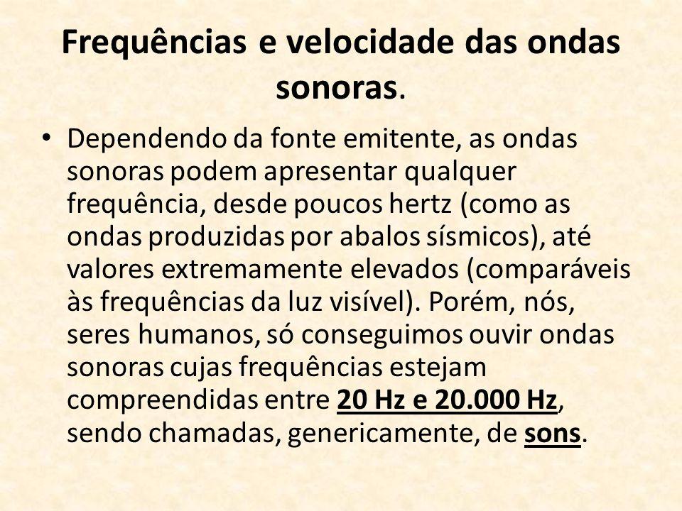 Frequências e velocidade das ondas sonoras. Dependendo da fonte emitente, as ondas sonoras podem apresentar qualquer frequência, desde poucos hertz (c