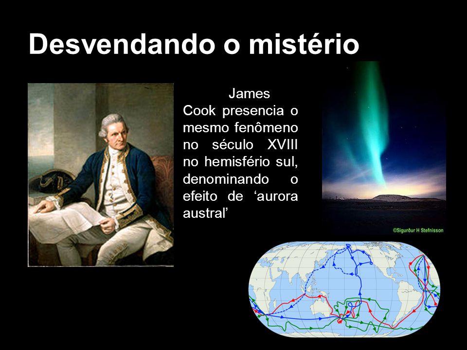 Desvendando o mistério James Cook presencia o mesmo fenômeno no século XVIII no hemisfério sul, denominando o efeito de aurora austral
