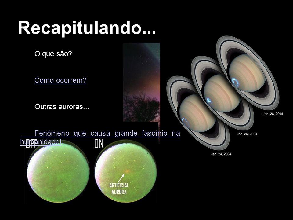 Recapitulando... O que são? Como ocorrem? Outras auroras... Fenômeno que causa grande fascínio na humanidade!