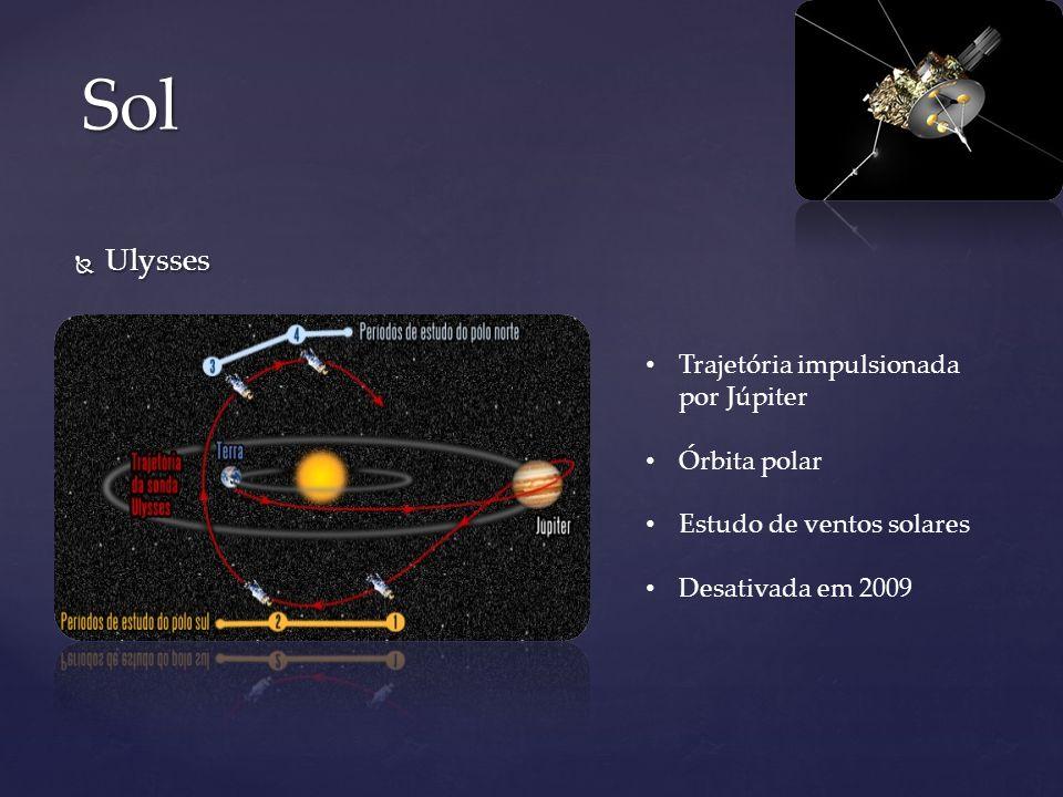 Ulysses Ulysses Sol Trajetória impulsionada por Júpiter Órbita polar Estudo de ventos solares Desativada em 2009