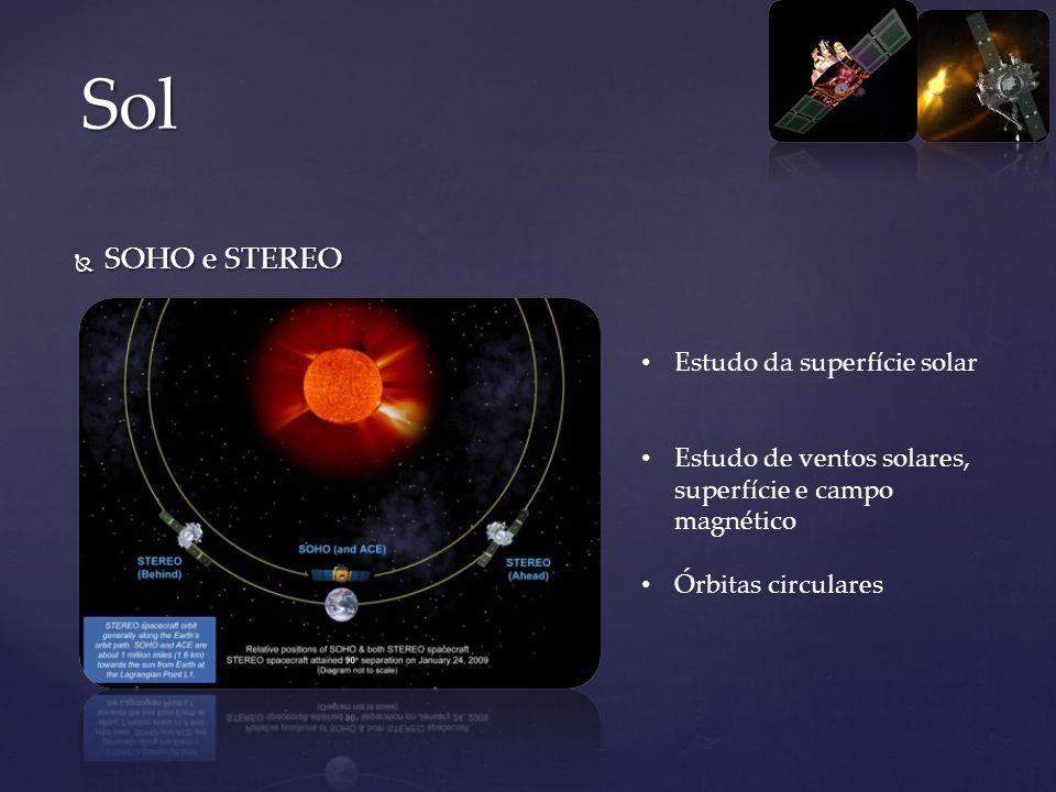 SOHO e STEREO SOHO e STEREO Sol Estudo da superfície solar Estudo de ventos solares, superfície e campo magnético Órbitas circulares