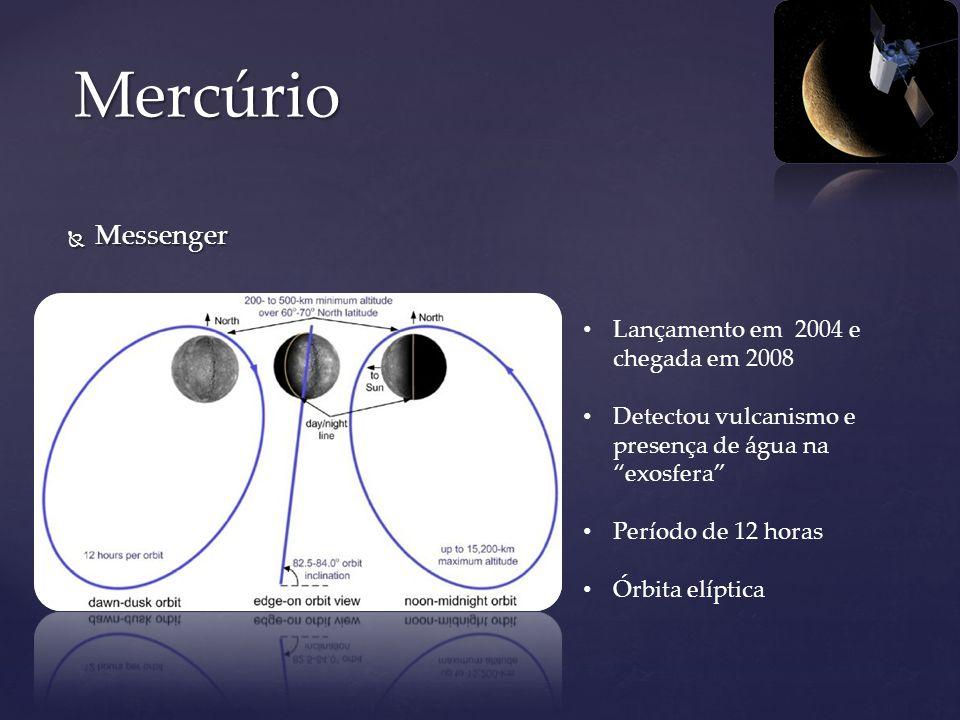Messenger Messenger Mercúrio Lançamento em 2004 e chegada em 2008 Detectou vulcanismo e presença de água na exosfera Período de 12 horas Órbita elípti