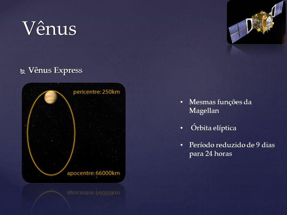 Vênus Express Vênus Express Vênus Mesmas funções da Magellan Órbita elíptica Período reduzido de 9 dias para 24 horas