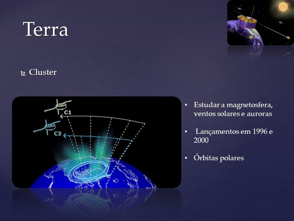 Cluster Cluster Terra Estudar a magnetosfera, ventos solares e auroras Lançamentos em 1996 e 2000 Órbitas polares