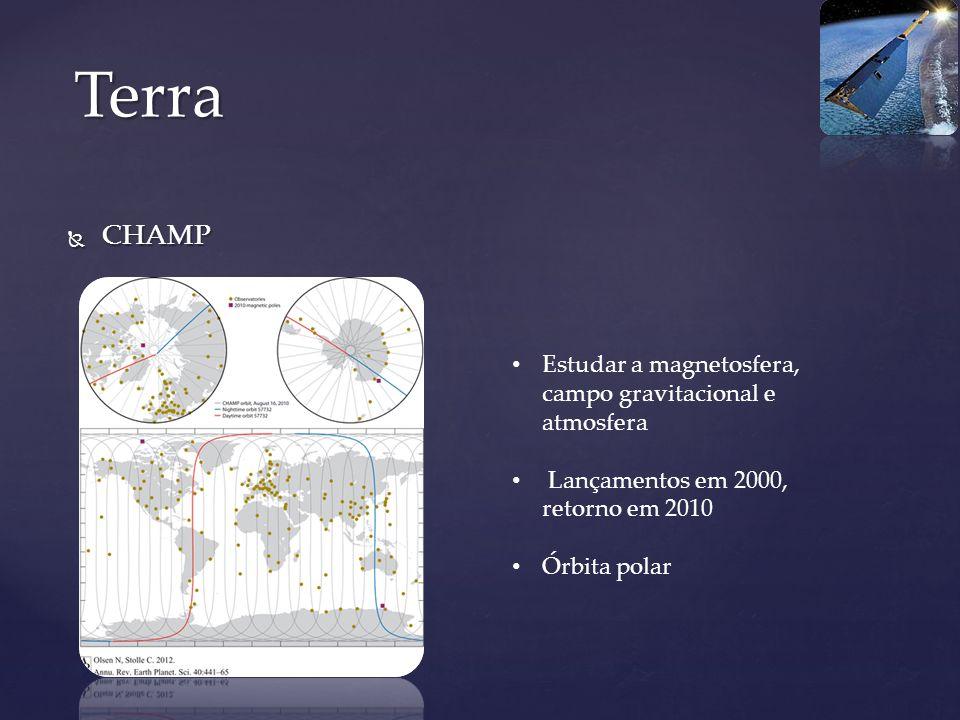 CHAMP CHAMP Terra Estudar a magnetosfera, campo gravitacional e atmosfera Lançamentos em 2000, retorno em 2010 Órbita polar
