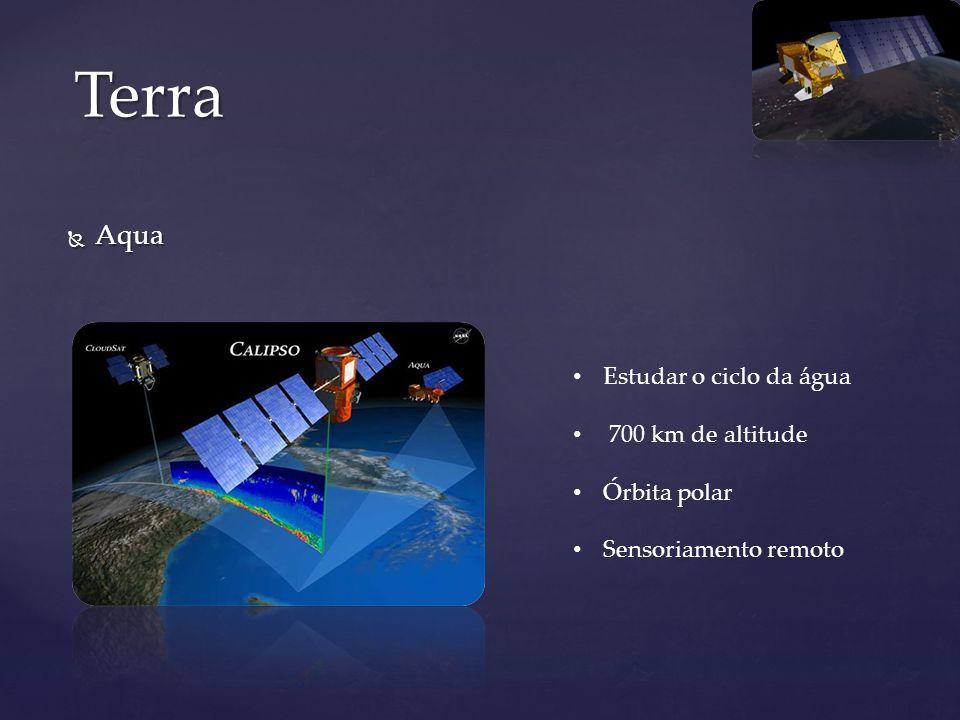 Aqua Aqua Terra Estudar o ciclo da água 700 km de altitude Órbita polar Sensoriamento remoto