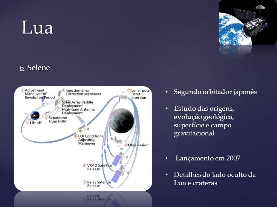 Selene Selene Lua Segundo orbitador japonês Estudo das origens, evolução geológica, superfície e campo gravitacional Lançamento em 2007 Detalhes do la