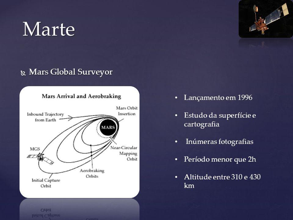 Mars Global Surveyor Mars Global Surveyor Marte Lançamento em 1996 Estudo da superfície e cartografia Inúmeras fotografias Período menor que 2h Altitu