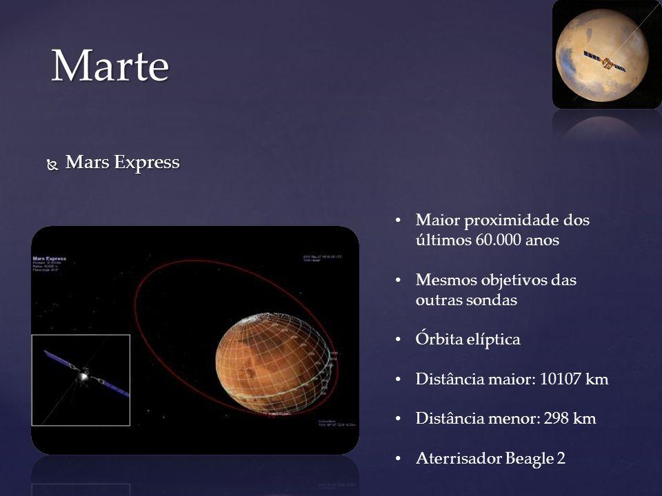 Mars Express Mars Express Marte Maior proximidade dos últimos 60.000 anos Mesmos objetivos das outras sondas Órbita elíptica Distância maior: 10107 km