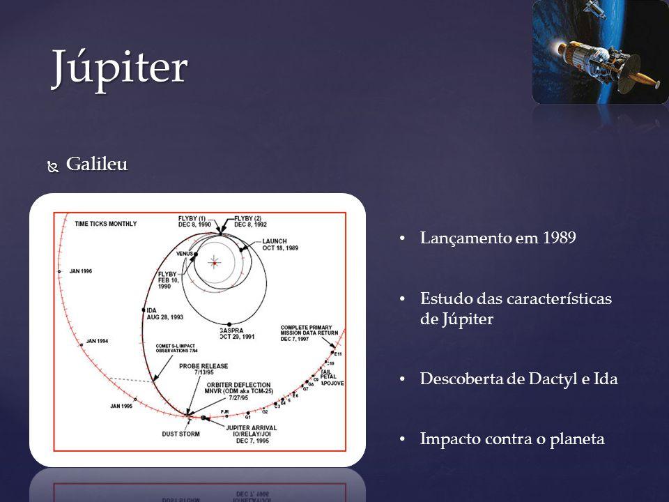 Galileu Galileu Júpiter Lançamento em 1989 Estudo das características de Júpiter Descoberta de Dactyl e Ida Impacto contra o planeta