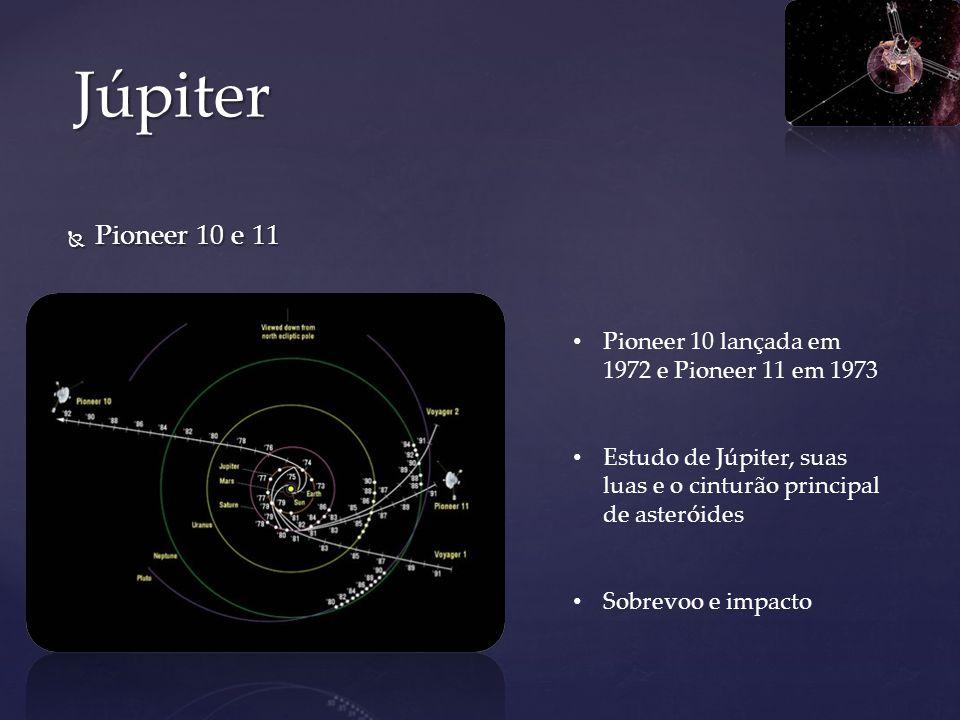 Pioneer 10 e 11 Pioneer 10 e 11 Júpiter Pioneer 10 lançada em 1972 e Pioneer 11 em 1973 Estudo de Júpiter, suas luas e o cinturão principal de asterói