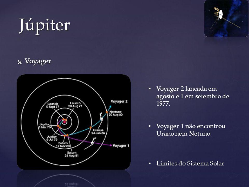 Voyager Voyager Júpiter Voyager 2 lançada em agosto e 1 em setembro de 1977. Voyager 1 não encontrou Urano nem Netuno Limites do Sistema Solar
