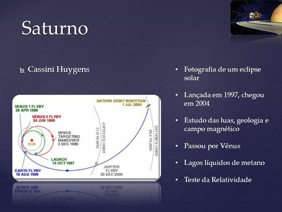 Cassini Huygens Cassini Huygens Saturno Fotografia de um eclipse solar Lançada em 1997, chegou em 2004 Estudo das luas, geologia e campo magnético Pas