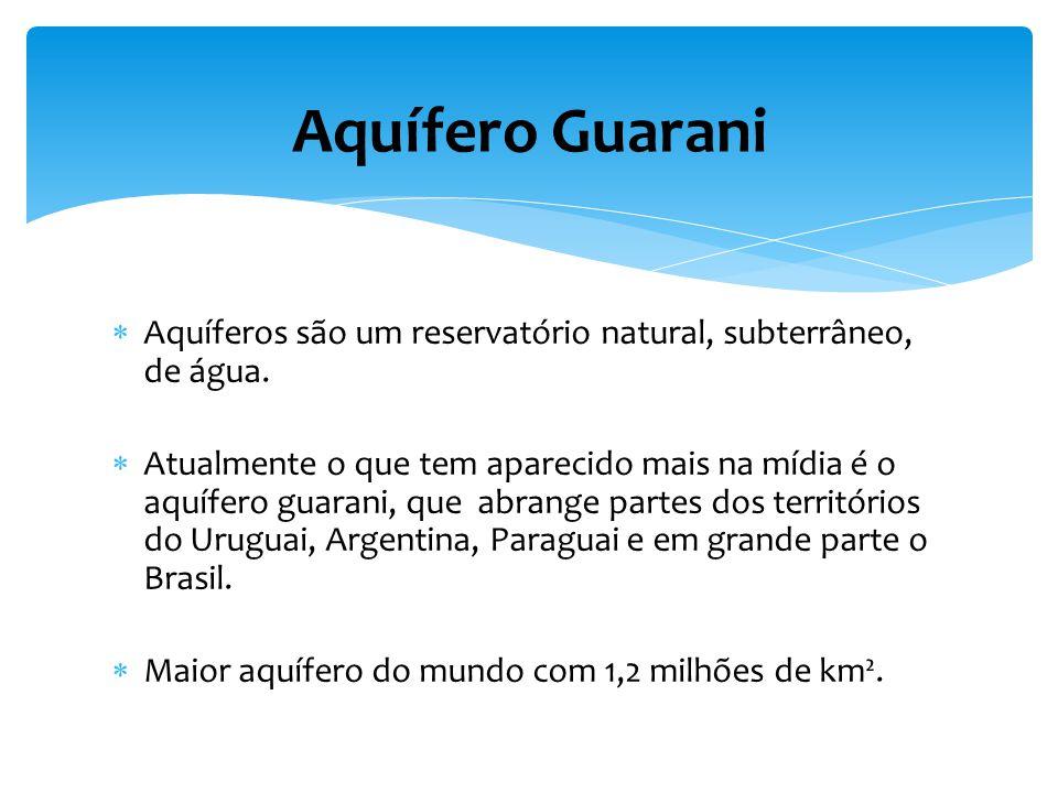Aquífero Guarani Aquíferos são um reservatório natural, subterrâneo, de água.