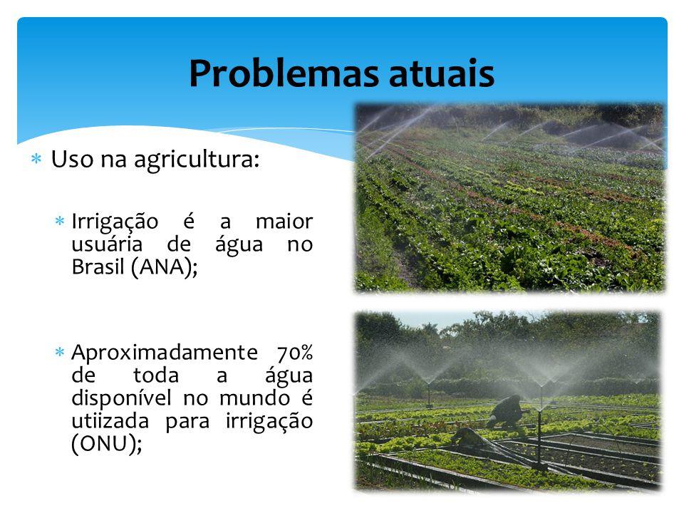Uso na agricultura: Irrigação é a maior usuária de água no Brasil (ANA); Aproximadamente 70% de toda a água disponível no mundo é utiizada para irrigação (ONU); Problemas atuais