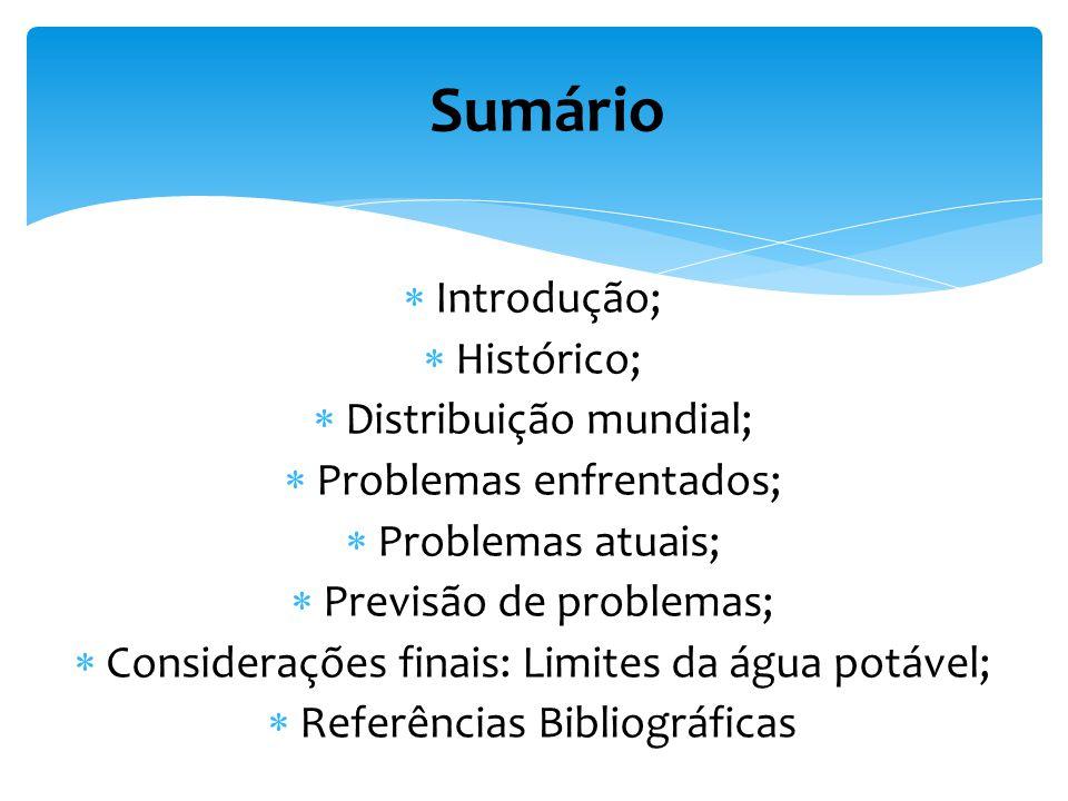 Sumário Introdução; Histórico; Distribuição mundial; Problemas enfrentados; Problemas atuais; Previsão de problemas; Considerações finais: Limites da água potável; Referências Bibliográficas