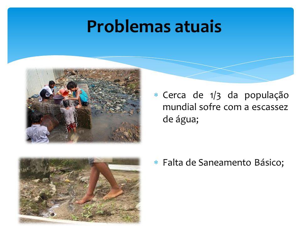 Cerca de 1/3 da população mundial sofre com a escassez de água; Falta de Saneamento Básico; Problemas atuais