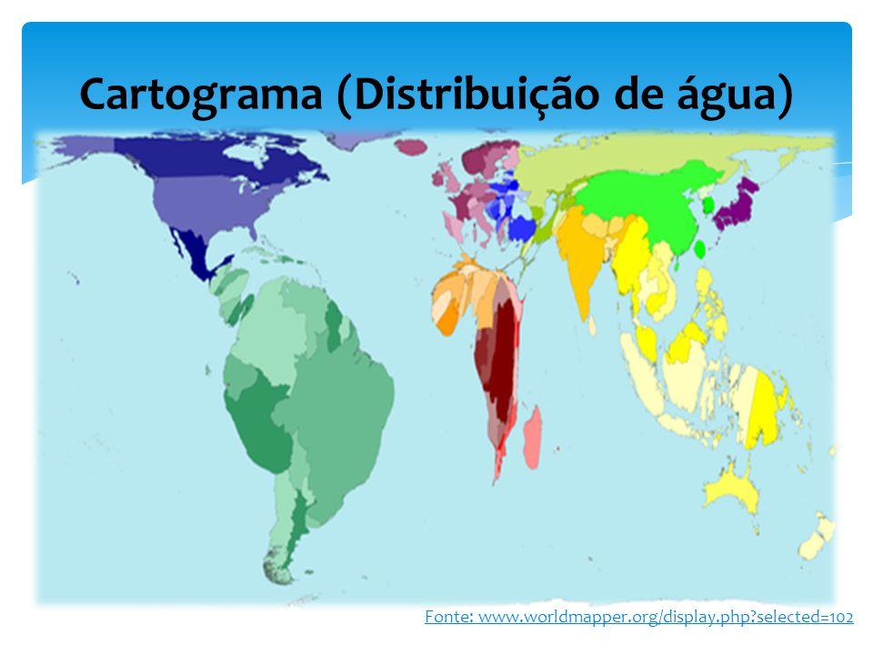 Cartograma (Distribuição de água) Fonte: www.worldmapper.org/display.php?selected=102