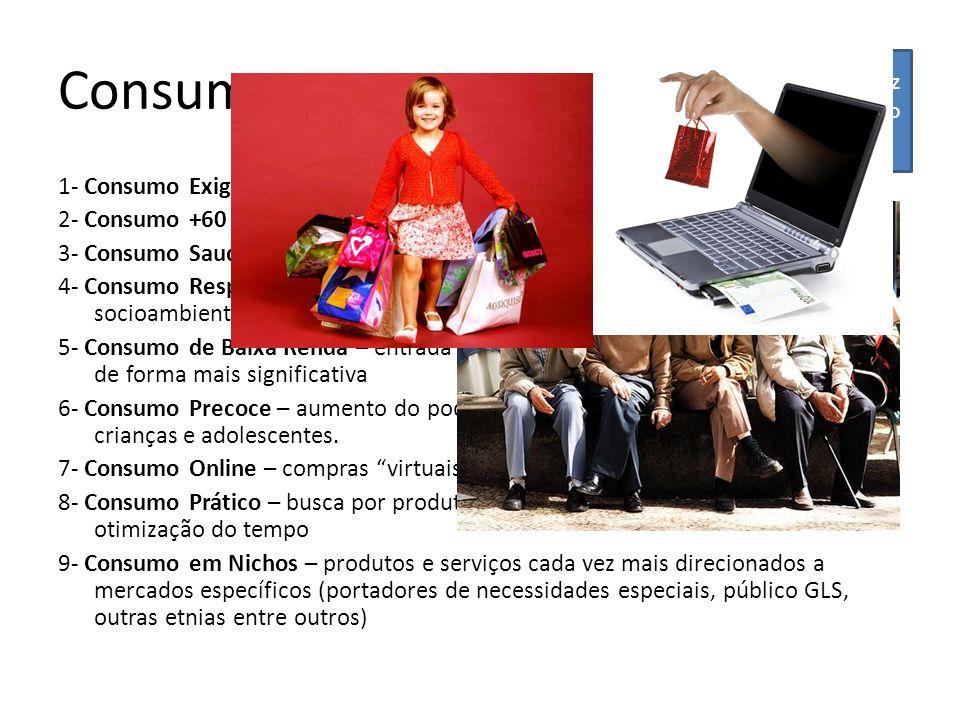 Consumo 1- Consumo Exigente – qualidade, certificação e rastrealidade 2- Consumo +60 – envelhecimento da população 3- Consumo Saudável – aumento da de