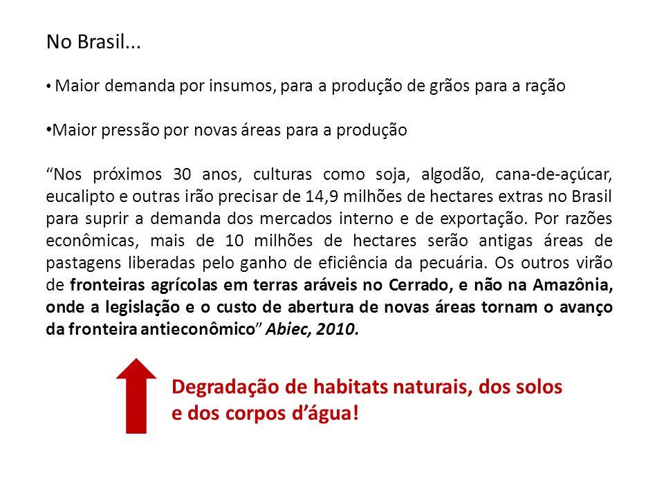 No Brasil... Maior demanda por insumos, para a produção de grãos para a ração Maior pressão por novas áreas para a produção Nos próximos 30 anos, cult