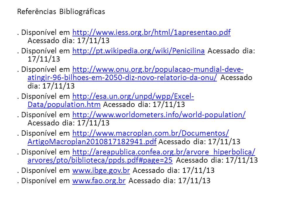 Referências Bibliográficas. Disponível em http://www.iess.org.br/html/1apresentao.pdf Acessado dia: 17/11/13http://www.iess.org.br/html/1apresentao.pd