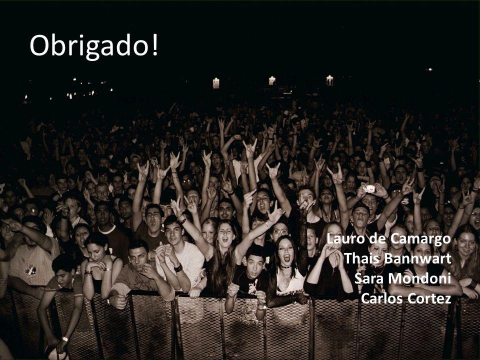Obrigado! Lauro de Camargo Thais Bannwart Sara Mondoni Carlos Cortez
