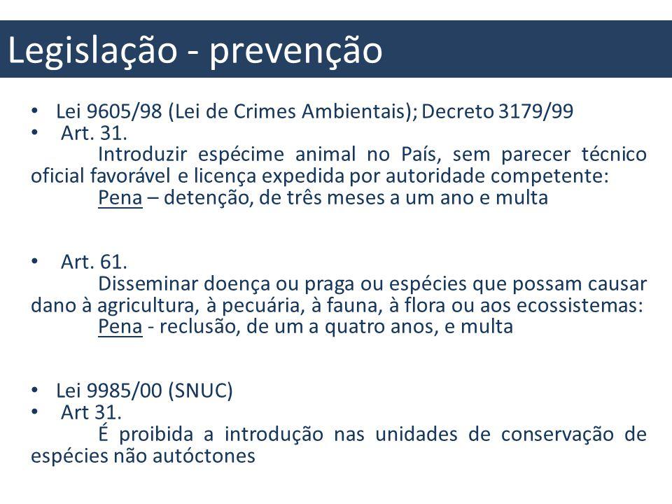 Legislação – controle e erradicação Lei 9605/98 (Lei de Crimes Ambientais) Art.