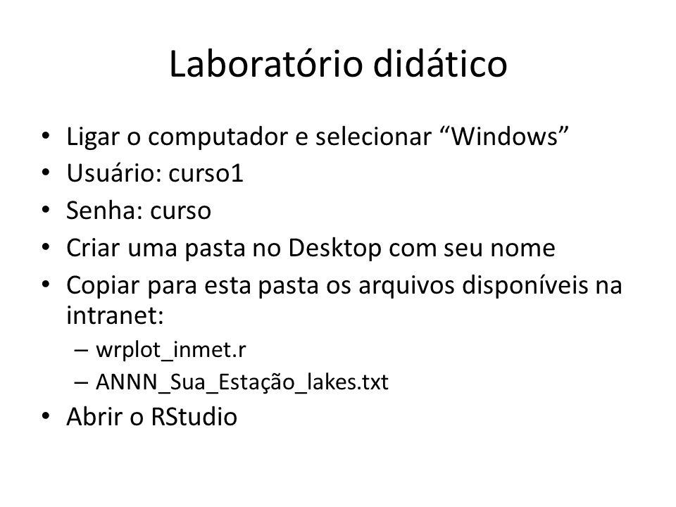 Laboratório didático Ligar o computador e selecionar Windows Usuário: curso1 Senha: curso Criar uma pasta no Desktop com seu nome Copiar para esta pas