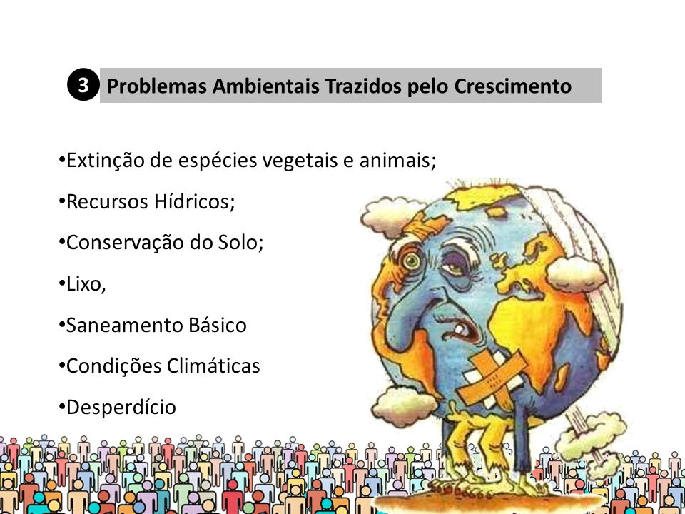 Problemas Ambientais Trazidos pelo Crescimento Extinção de espécies vegetais e animais; Recursos Hídricos; Conservação do Solo; Lixo, Saneamento Básico Condições Climáticas Desperdício 3