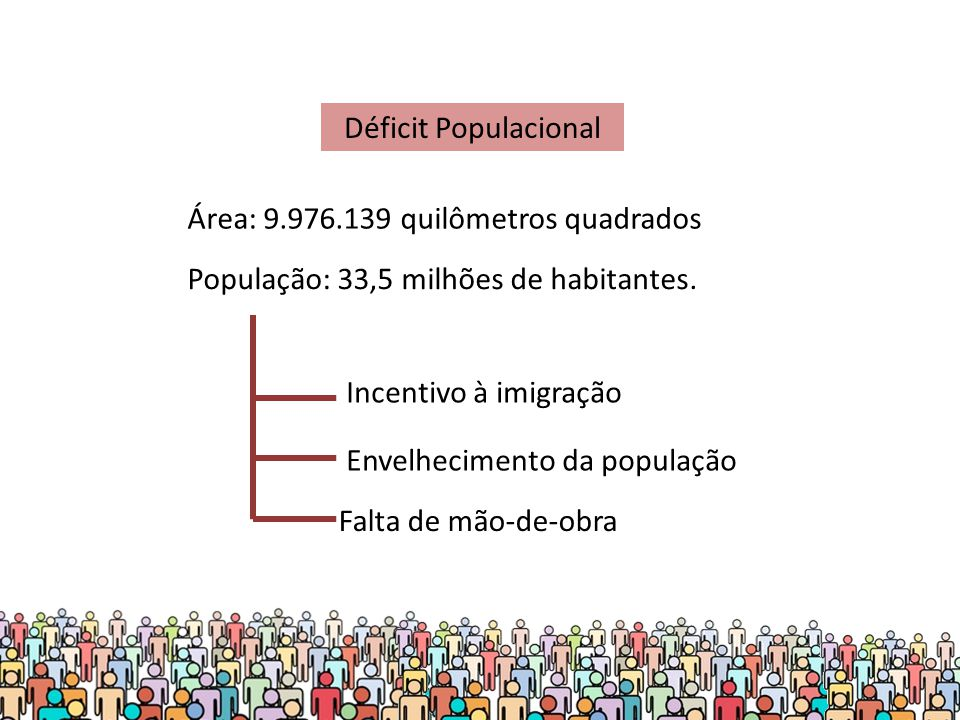 Déficit Populacional Incentivo à imigração Envelhecimento da população Falta de mão-de-obra Área: 9.976.139 quilômetros quadrados População: 33,5 milhões de habitantes.